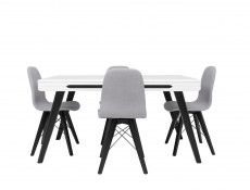 White Gloss Dining Room Furniture Set Extending Table with Black Legs & 4 Grey Chairs - Azteca Trio