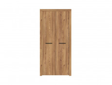 Modern Two Door Double Wardrobe Oak Finish Bedroom Storage - Vasto