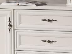Classic White Matt Five Door Triple Wardrobe with Hanging Rail, Mirror, Drawers, Shelves - Idento (S320-SZF5D2S-BI-KPL01)