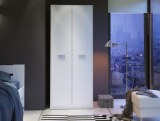 Modern Two Door Double Wardrobe Wenge, White or Sonoma Oak Finish- Nepo
