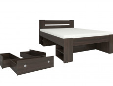 Modern Double Bed Frame with Storage Shelving and Drawers Wenge Dark Brown Finish- Nepo (S435-LOZ3S-WE+OPCJA-WE+WKL140/L16-BK)