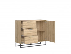 Industrial Bedroom Furniture Set 5 Piece with King Size Bed & Sideboard Metal Frame Oak - Gamla
