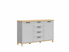Large Scandinavian Sideboard Dresser Cabinet with Drawers Grey & Oak - Haga