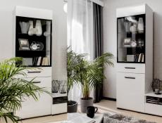 Modern White Gloss Living Room Furniture TV Units, Shelf, Display Cabinets LED Lights  - Assen (S513-LIVING-SET-6-UNIT-ASSEN-KPL01)