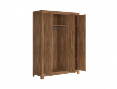 Modern Bedroom Quad Triple 3-Door Wardrobe with Shelves and Rail Oak - Gent (S228-SZF3D/21/15-DAST-KPL01)