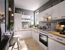 Modern White Display Shelf 100cm Mounted Under Kitchen Cabinet - Junona  (K24-POL/100-BI-1-KOR)