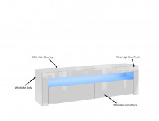 White High Gloss TV Cabinet Entertainment Stand Unit Modern 2 Fold Down Doors and Blue LED lit Open Compartment - Lily