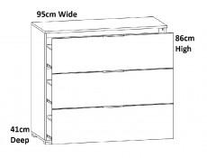 Modern White Gloss & Oak Childrens Bedroom Room 6-Piece Furniture Set Single Bed Wardrobe Desk - Zele