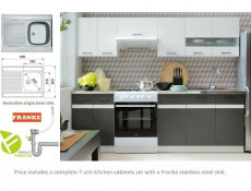 Modern Grey/White Gloss Kitchen Cabinets Cupboards Set of 7 Units with Franke Sink - Junona