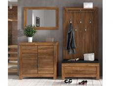 Compact Cabinet Square Modern Sideboard 2 Door 2 Drawer Shelf Storage Unit Medium Oak Effect - Gent (M244-KOM2D2S/10/10-DAST)
