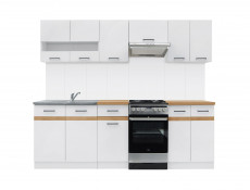 Free Standing White/White Gloss Cabinets Cupboards Set 7 Units - Junona