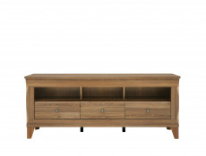 Traditional Light Oak Wide TV Cabinet Media Bench with Drawers & Glass Wall Storage Unit 156cm Set - Bergen