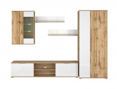 Modern Living Room Furniture Set in White Gloss / Oak finish TV Cabinet Display Unit Shelf - Zele