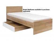 Modern Underbed Drawer on Wheels for Single Bed Frame Storage Unit Oak Effect and White Gloss - Balder