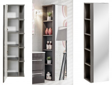 Modern Tall Bathroom Mirror Cabinet Shelving Storage Unit Grey Matt/Grey Gloss  - Twist