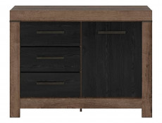 Modern Oak & Black finish Small Sideboard Dresser Storage Cabinet 1 Door Unit with 3 Drawers - Balin