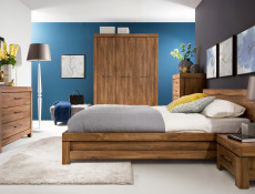 Modern King Size Double Bed Frame Wooden Slats and Headboard Oak - Gent