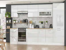 White High Gloss Kitchen Base Cabinet 30cm Cupboard 1 Door Free Standing 300 Unit - Rosi (STO-ROSI-D30-P/L-BI-BIP-KP01)