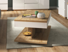 Modern White Gloss / Oak finish Coffee Table Rectangular Bench Storage Table with Shelf - Erla