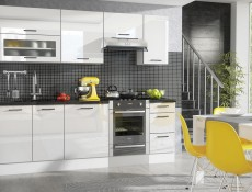 Free Standing White Gloss Kitchen Cabinets Cupboards Set 7 Units - Roxi