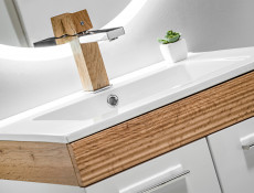 Wall Mounted Bathroom Furniture Set 500 Vanity Cabinet Sink Unit Tallboy White Gloss Oak finish - Aria (ARIA 800+822+CFP 2050RB)