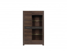 Wide Glass Display Cabinet LED Light Dark Oak finish - Alhambra (REG1D1W)