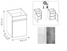Nowoczesne ściany łazienki rozprawie zlewozmywak, zestaw 40cm ceramiczna umywalka biały błyszczący/beton - atelier