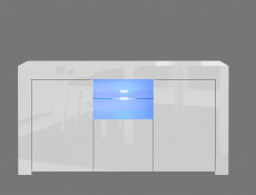 Modern Sideboard Glass Display Cabinet TV Cabinet Lowboard White High Gloss with Blue LED Lights-- Lily