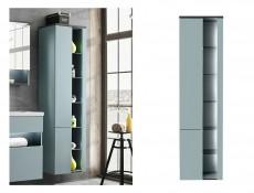 Modern Mint Grey Wall Hung Bathroom Tall Cabinet Storage Unit with LED Light Glass Shelves - Bahama