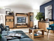 Living Room Furniture Set with Display Cabinets, TV & Wall Unit in Wall Oak Veneer Black Gloss Finish - Arosa