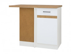 Modern Free Standing Corner Kitchen Cabinet 1000 Base Unit 100cm Left White Gloss/Oak - Junona (K24-DNW/100/82_L-BI/BIP/DCRZ-KPL01)