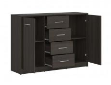 Sideboard Dresser Cabinet Modern Living Room Storage Drawers Storage Unit in Wenge Dark Wood Effect Finish - Nepo (S435-KOM2D4S-WE-KPL01)