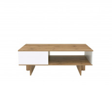Modern Rectangular Living Room Coffee Table with Open Storage Compartment White Gloss/Oak - Zele