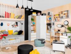 Modern Storage Cabinet Shelving Unit with Drawers Kids Bedroom Comic/Emoji Sticker White Gloss/Grey/Oak  - Nandu (S441-REG2D2S-JSZ/DP/BIP/SCR-KPL01)