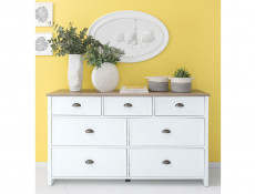 Large Chest of 7 Drawers Sideboard Storage Cabinet Unit White / Oak Finish - Cannet