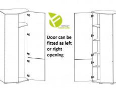 Modern Compact White Gloss & Oak Corner 1 Door Wardrobe with Rail and Shelf - Zele