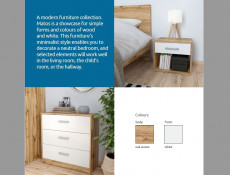 Modern Large Chest of Drawers Door Drawer Cabinet Storage Unit Sideboard White Matt/Oak finish - Matos