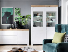 Scandinavian Tall Glass Door Display Cabinet Storage Unit LED Lights White Gloss/Oak - Holten (S397-REG1D1W-BI/DWO/BIP+LED)