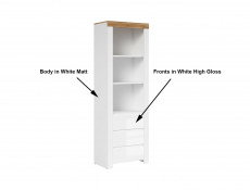 Scandinavian Tall Bookcase Storage Shelving Unit Cabinet with Drawers White Gloss/Oak - Holten