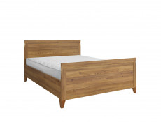 Traditional Light Oak Double Bed Frame with High Headboard & Wooden Slats - Bergen