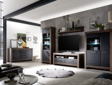 Modern Wide Glass Display Sideboard Cabinet Showcase Storage 3 Door Unit LED Light Oak/Black - Balin