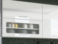 White High Gloss Glass Kitchen Wall Cabinet 80cm Cupboard 800 Display Lift Up Door Unit - Rosi