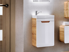 Modern Wall Vanity Sink Bathroom Cabinet Unit Oak/White 40cm  - Aruba