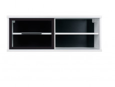 Glass Wall Display Cabinet Shelf White Gloss or Oak - Fever
