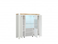 Country Glass 3-Door Display Cabinet Storage Unit with Lights White/Oak - Dreviso