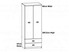 Urban Free Standing Double 2 Door 2 Drawer Wardrobe Storage Unit Oak Effect and Grey Finish - Malcolm (S325-SZF2D2S-DAMO/SZW/DAMON-KPL01)