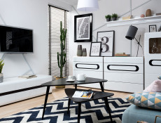 Wide TV Stand Cabinet Entertainment Unit Drawers White High Gloss and White Matt Finish 150cm - Azteca
