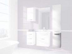 Wall Mounted Bathroom Cabinet 1 Door Unit White High Gloss- Coral (Coral D30 P/L White No Top)
