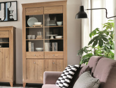 Traditional Light Oak Large Tall Display Glass Cabinet Showcase Storage Unit with LED Lights - Bergen (S359-REG2W2D-MSZ-KPL01)