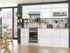 White Gloss Scandinavian Style Kitchen Cabinets Cupboards 7 Unit DIY Set 240cm - Rosi